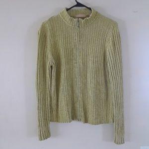 Karen Scott Full Zip Sweater Womens Large